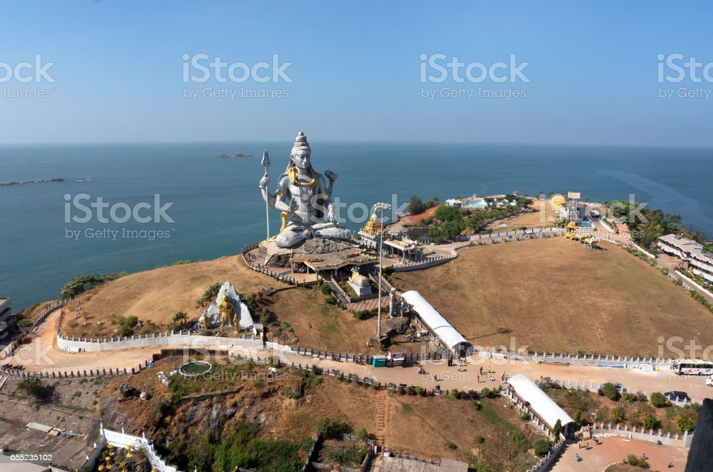 MURUDESHWAR, INDIA Statue of Lord Shiva was built at Murudeshwar temple on the top of hillock stock photo