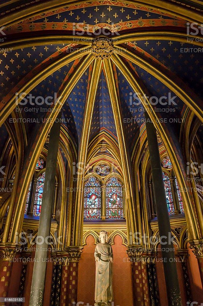 Statue of Louis IX inside Sainte-Chapelle in Paris, France stock photo