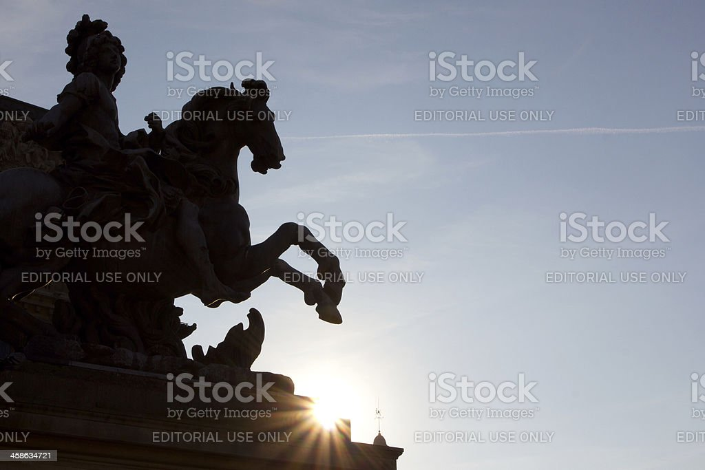 Statue of Louis XIV in Louvre stock photo