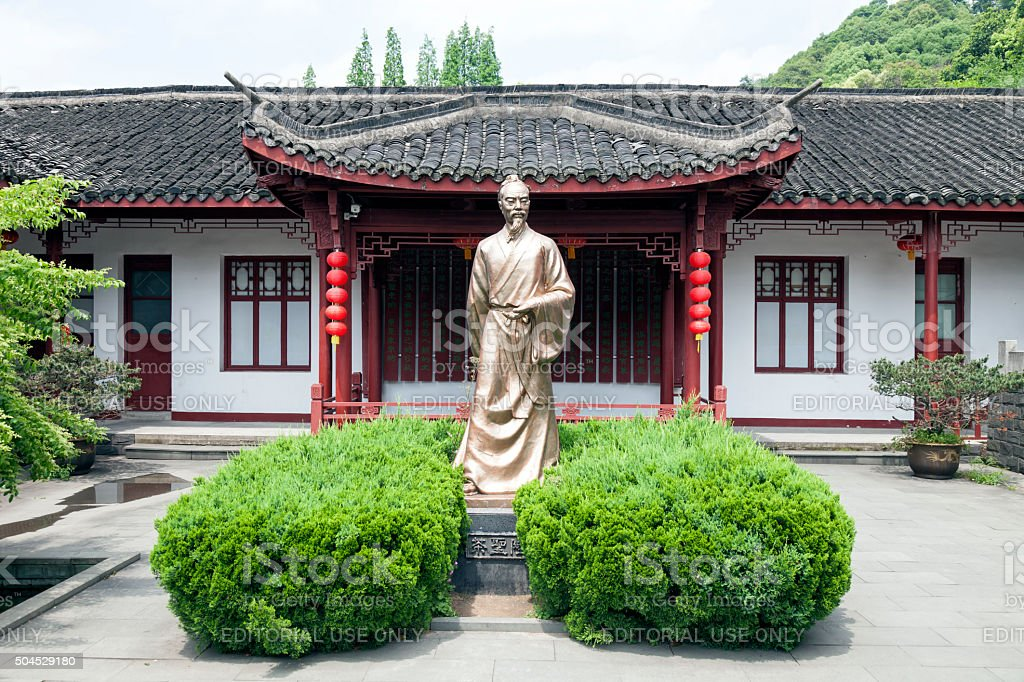 Statue of Lu Yu teamaster of China at tea plantation stock photo