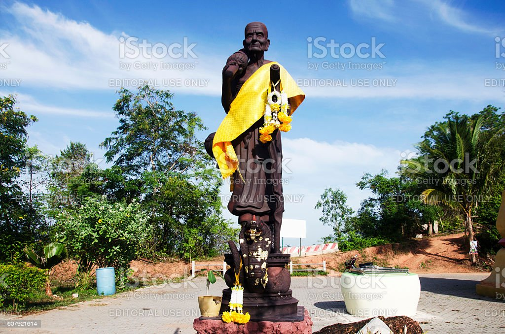 Statue of Luang Pu Thuat stand on naga for pray stock photo