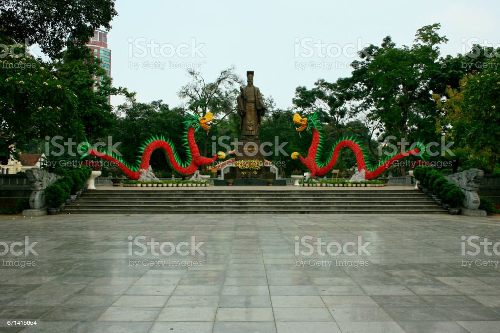 Statue of Ly Thai To in Hanoi stock photo