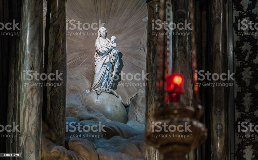 Statue of Madonna and Child at St Sulpice stock photo