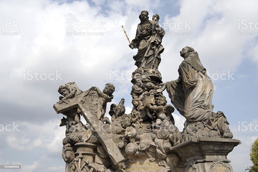Statue of Madonna attending to St. Bernard royalty-free stock photo