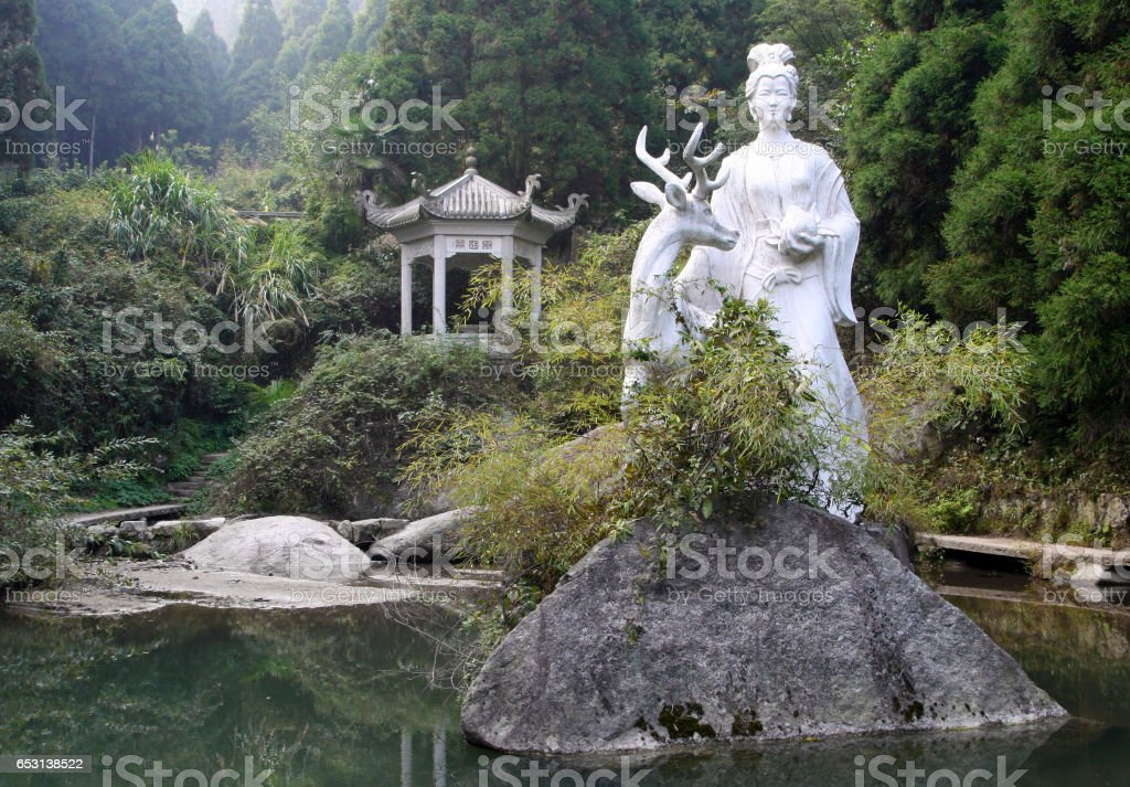 Statue of Magu (symbolic protector of females in Chinese mythology), Heng mountains, China stock photo