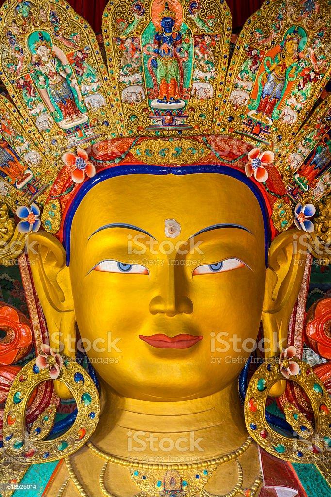 Statue of Maitreya Buddha in Thikse Monastery, Ladakh, India stock photo