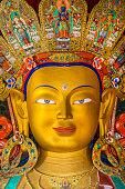 Statue of Maitreya Buddha in Thikse Monastery, Ladakh, India