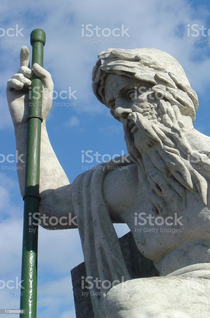 Statue Of Man with a Beard In The Open Sky royalty-free stock photo