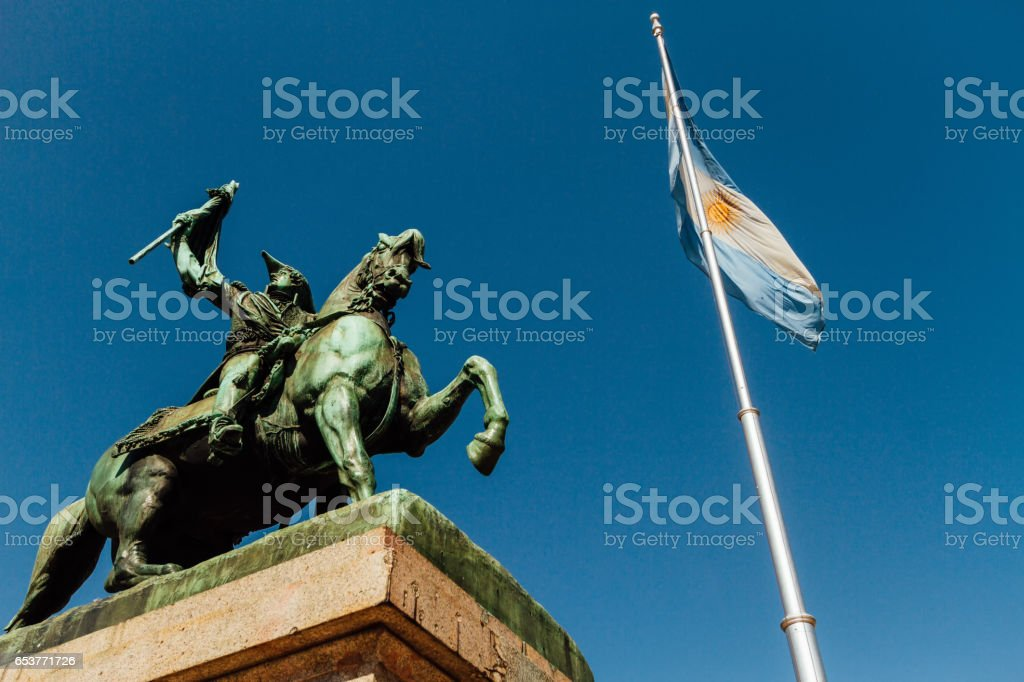 Statue of Manuel Belgrano and Argentine flag stock photo