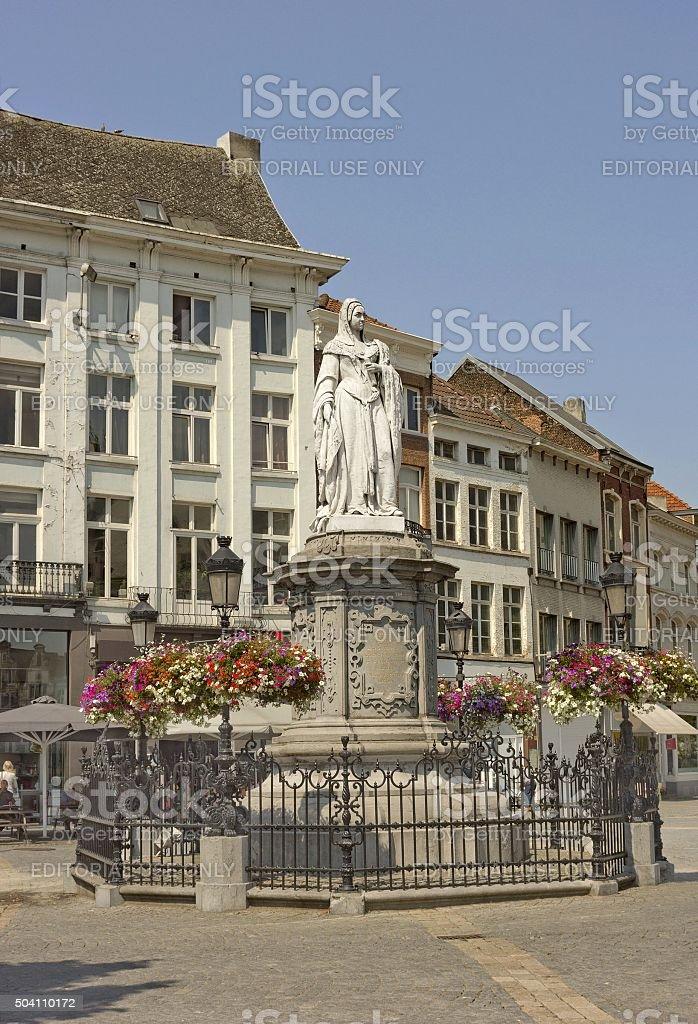Statue of Margaret of Austria in Mechelen, Belgium stock photo