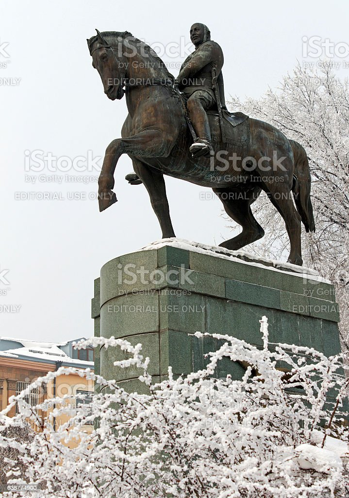 Statue of marshal Ivan Bagramyan in Yerevan stock photo