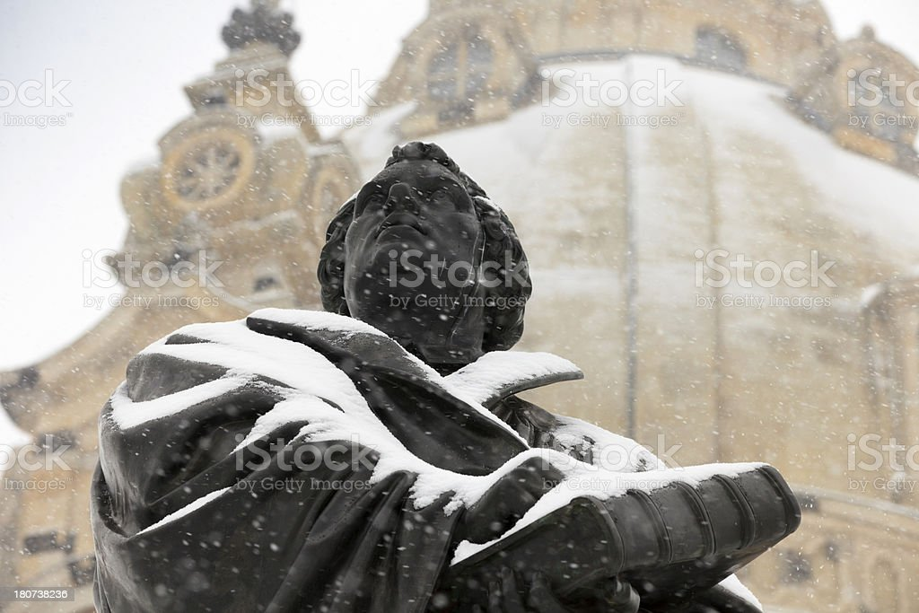 statue of Martin Luther in Dresden royalty-free stock photo