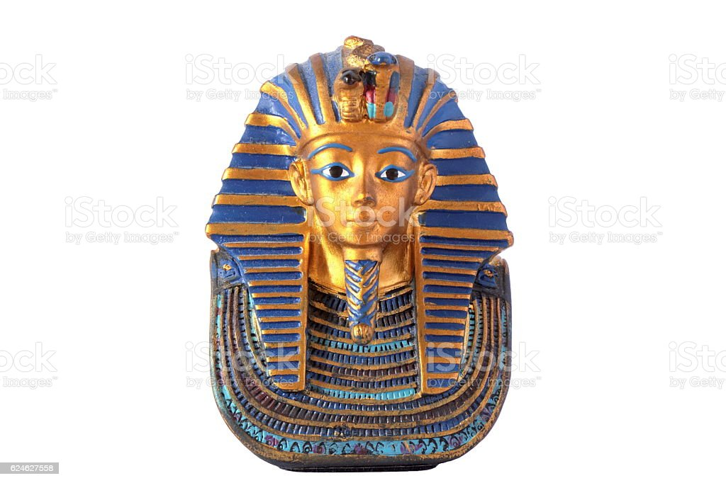 Statue of mask of King Tut, isolated on white background stock photo
