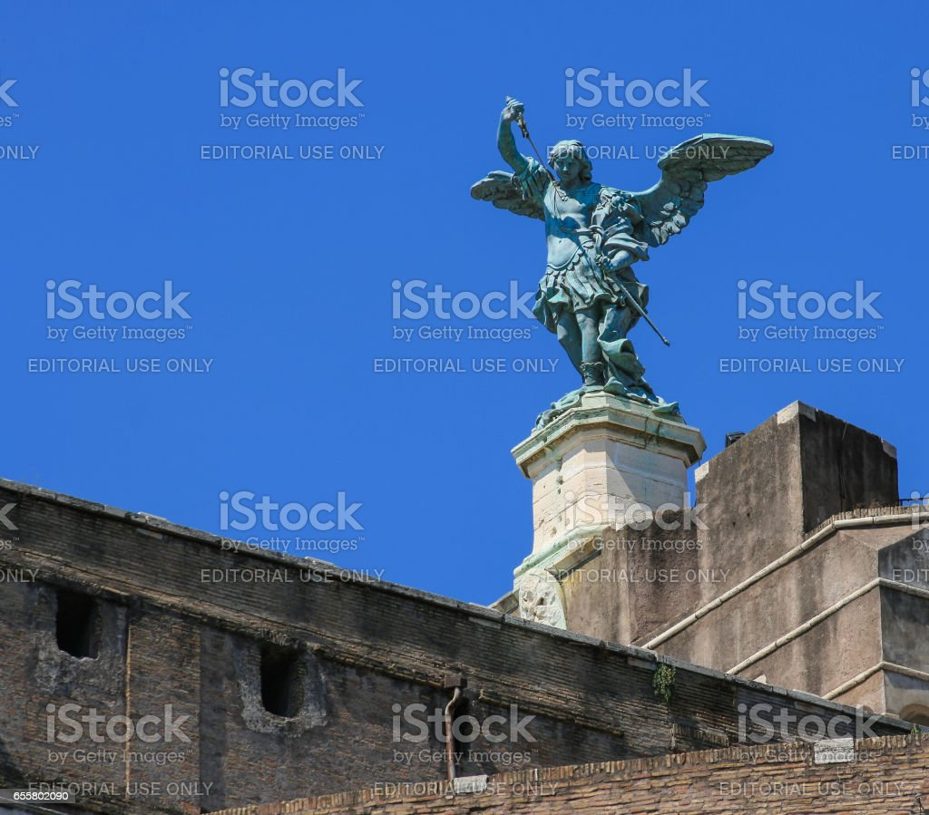 Statue of Michael the Archangel Atop of Castel Sant'Angelo, Rome, Italy. stock photo