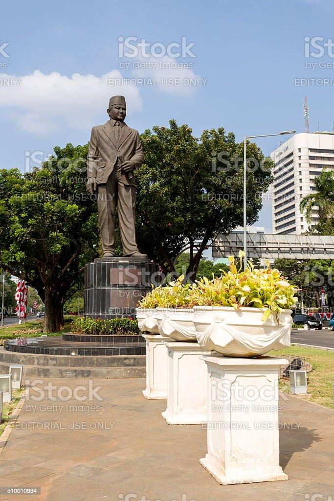 Statue of Mohammad Husni Thamrin in jakarta stock photo