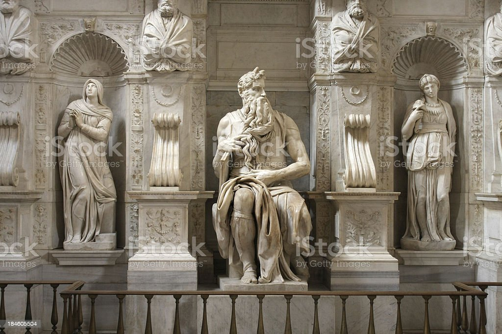 Statue of Moses by Michelangelo in Rome, Italy stock photo