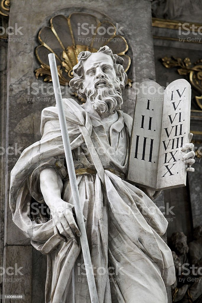 Statue of Moses holding the tablets of the Ten Commandments stock photo