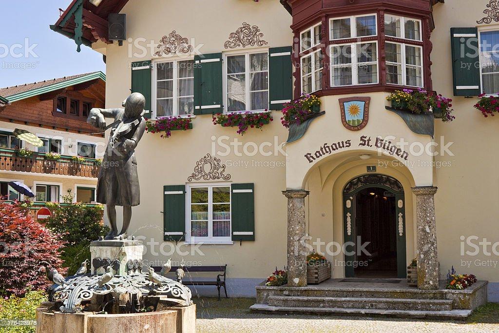statue of Mozart in St. Gilgen stock photo