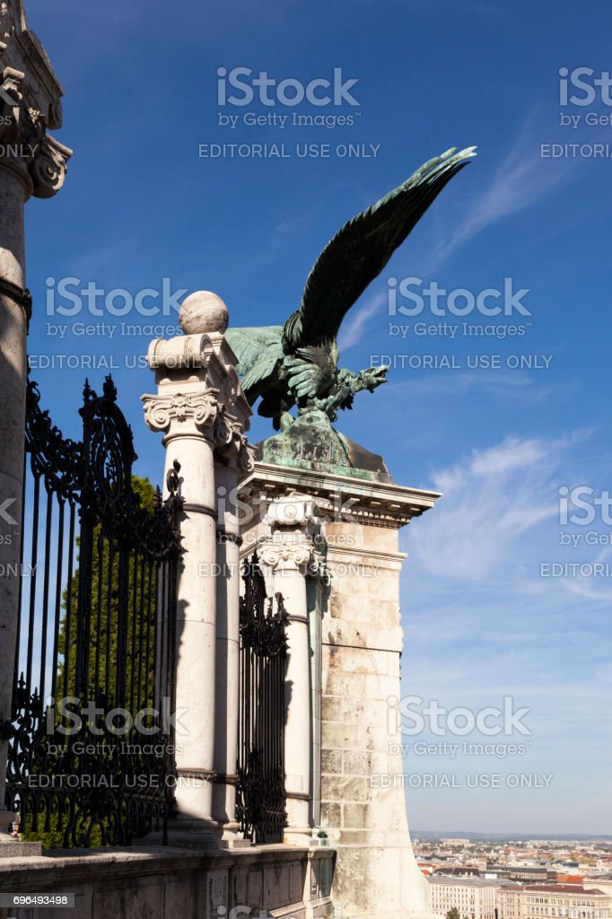 Statue of Mythological Bird Historical Castle District in Budapes stock photo