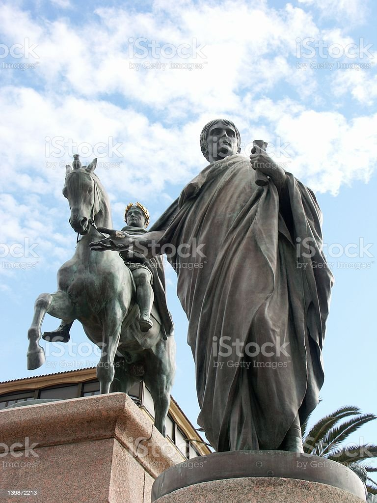 Statue of Napoleon in Ajaccio (Corsica) royalty-free stock photo