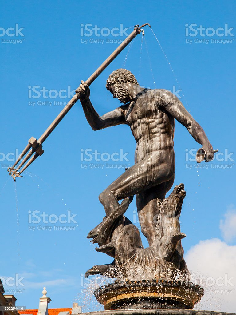 Statue of Neptune in Gdansk stock photo