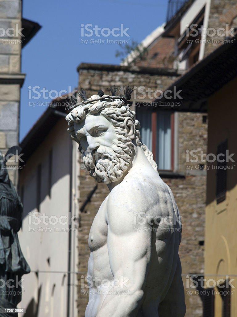 Statue of Neptune on Piazza della Signoria in Florence stock photo