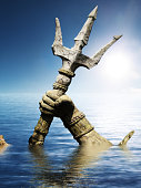Statue of Neptune or Poseidon's arm holding trident