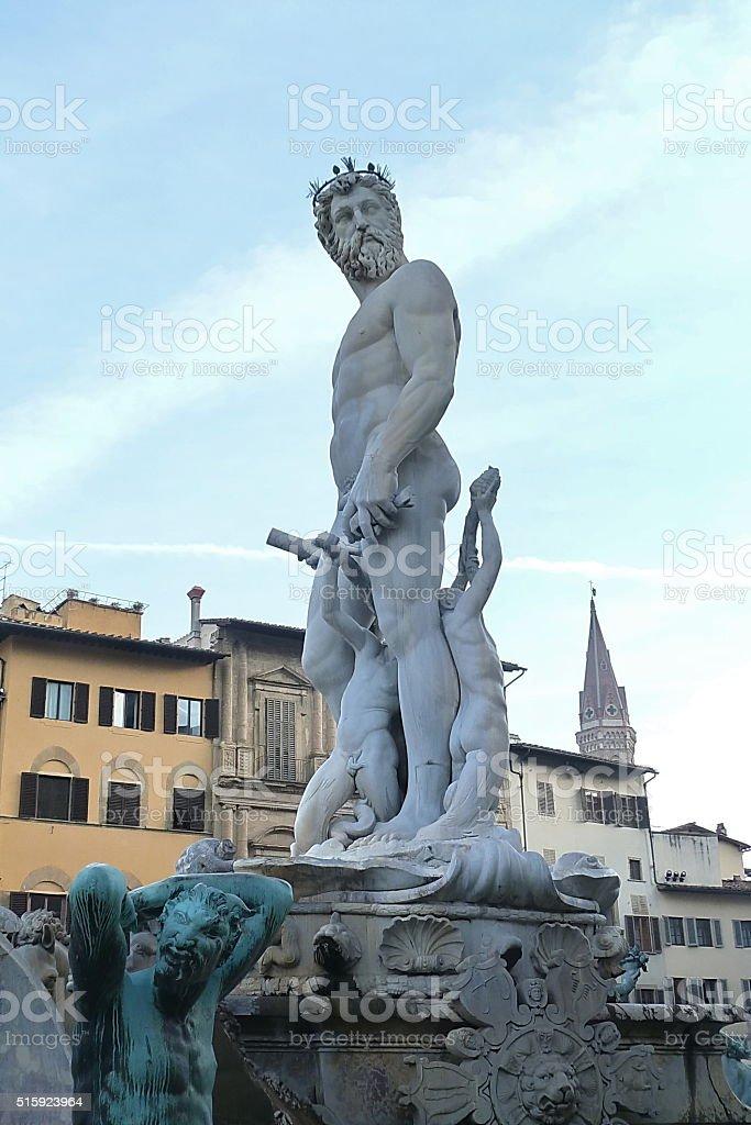 Statue of Neptune, Piazza della Signoria, Florence, Italy stock photo