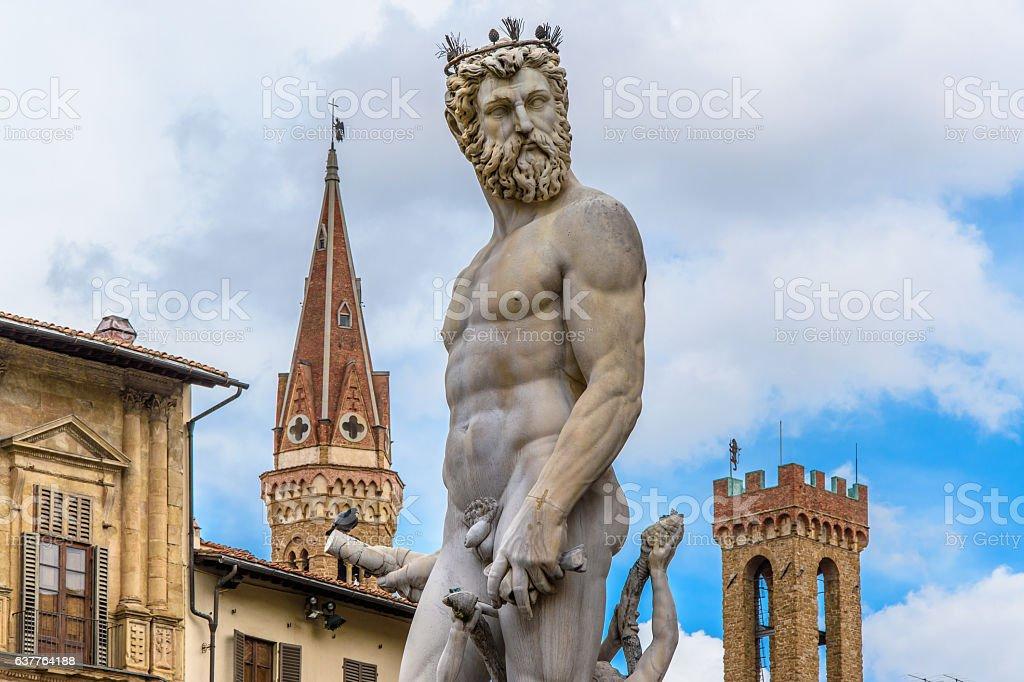 Statue of Neptune. Piazza della Signoria. Florence, Italy. stock photo