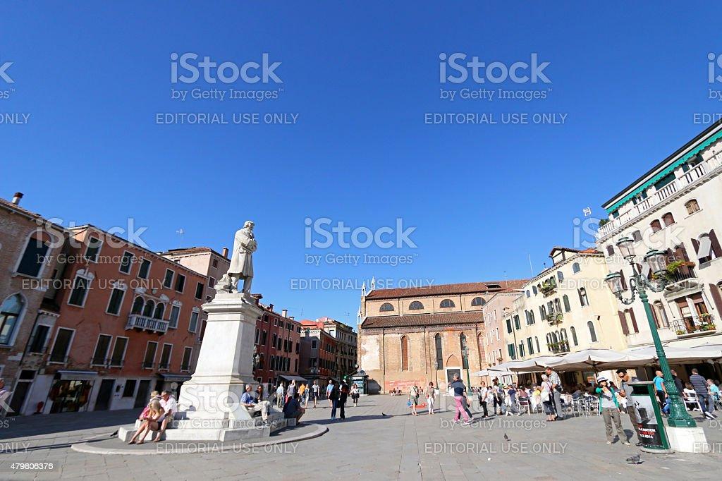 Statue of Niccolo Tommaseo monument in Venice stock photo