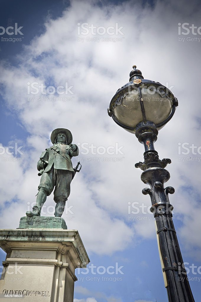 Statue of Oliver Cromwell St Ives stock photo