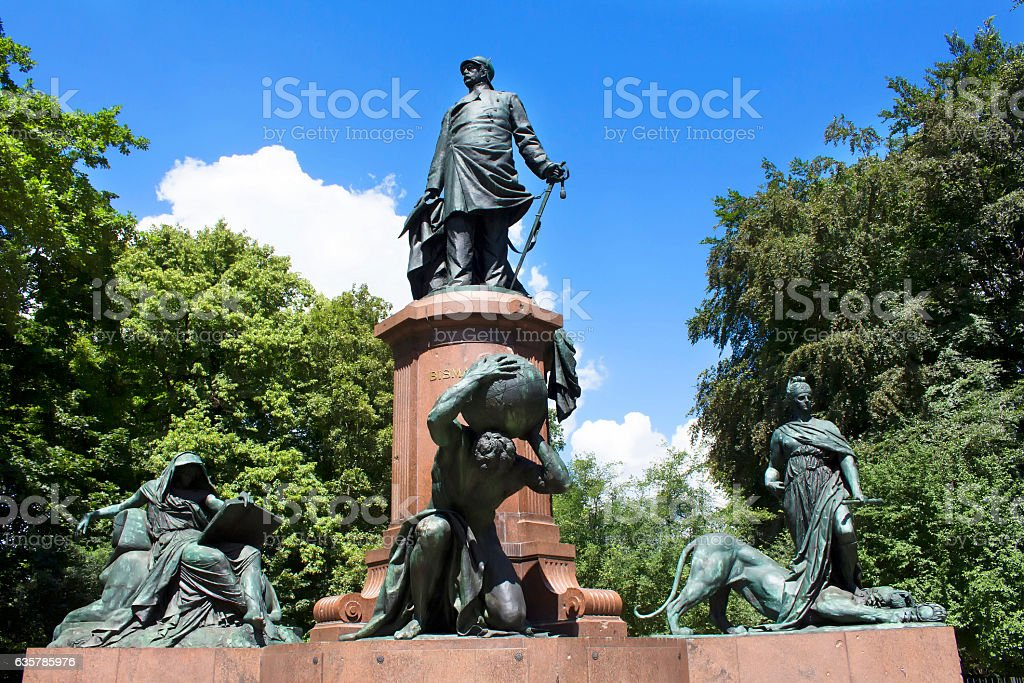 Statue of Otto von Bismarck in Tiergarten in Berlin. stock photo