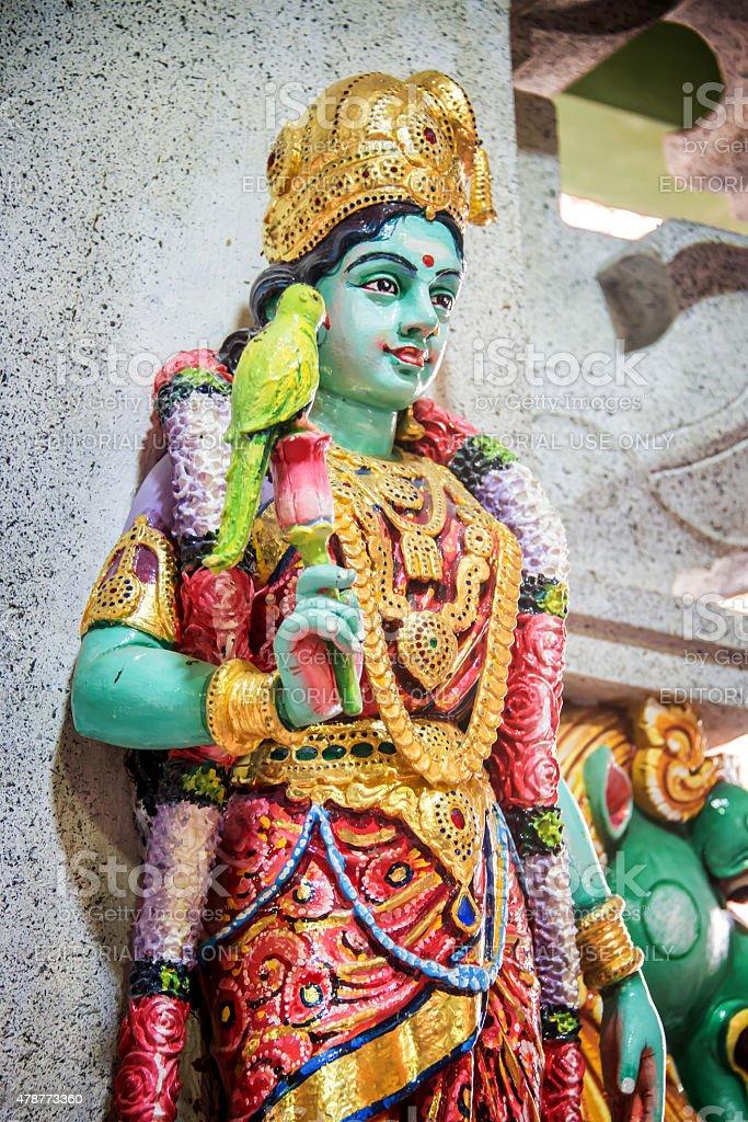 Statue of Parvati in Sri Veeramakaliamman Temple in Little India stock photo