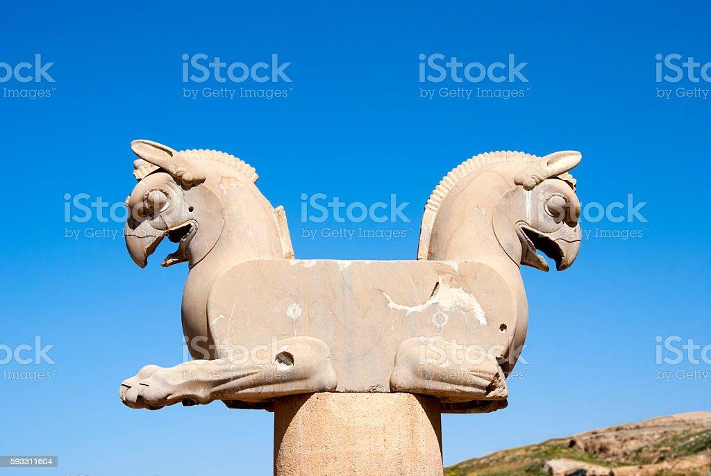 Statue of Persepolis in Shiraz, Iran stock photo