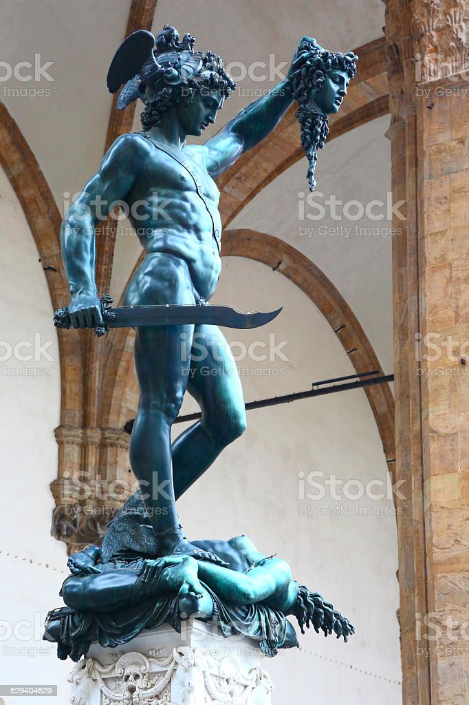 Statue of Perseus by Benvenuto Cellini in Florence stock photo