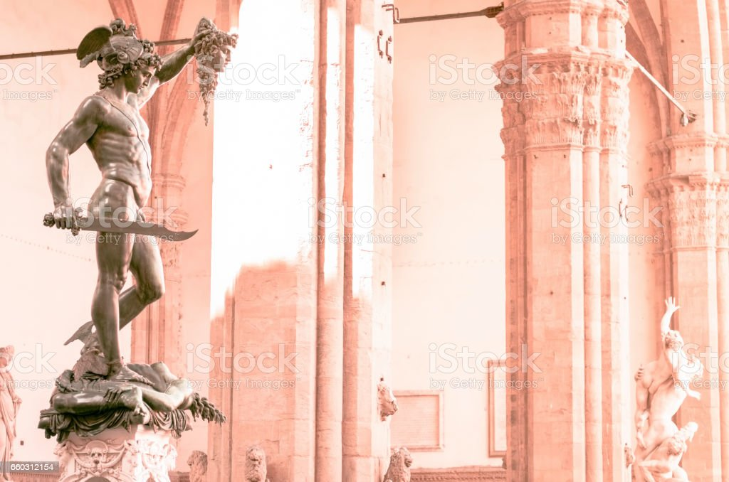 Statue of Perseus with Medusa Gorgon's head in hand Florence stock photo