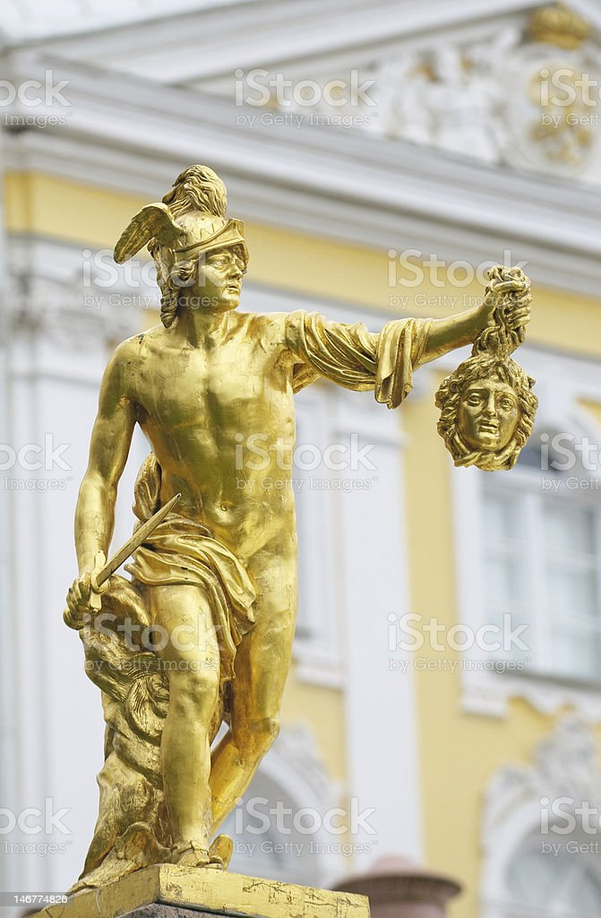 Statue of Perseus with Medusa gorgon's head, Petergof, Russia stock photo