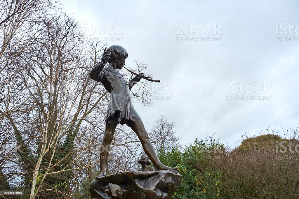 Statue of Peter Pan stock photo