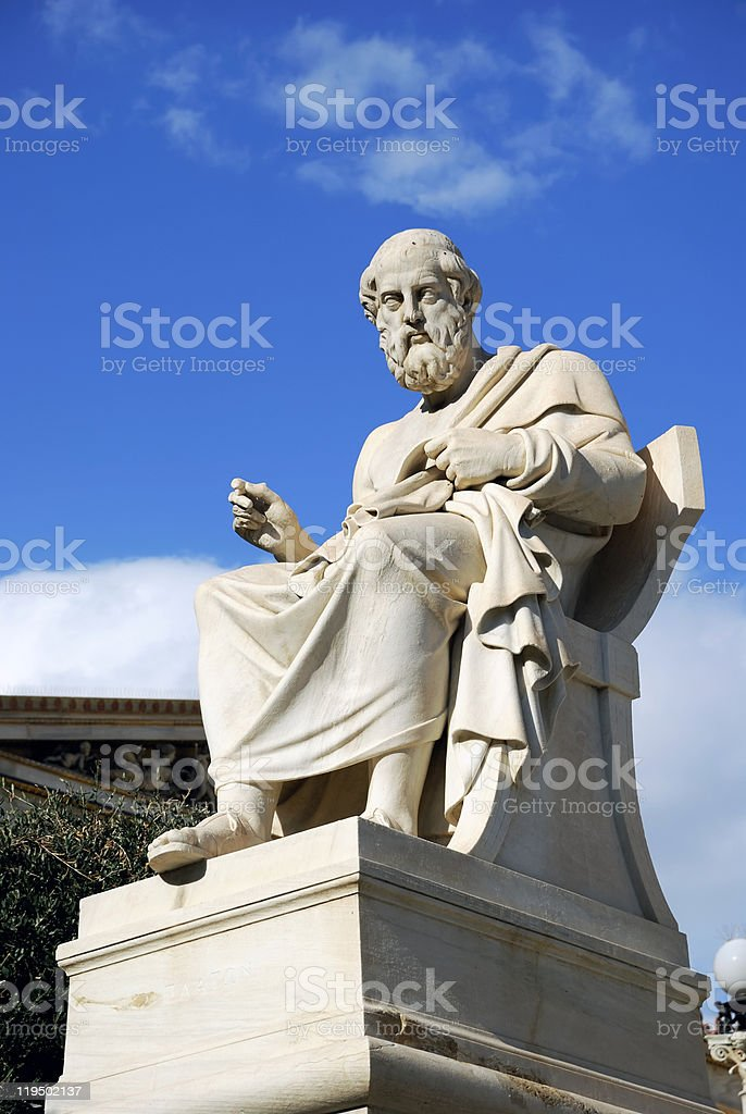 Statue of Plato at the Athens Academy (Greece) stock photo
