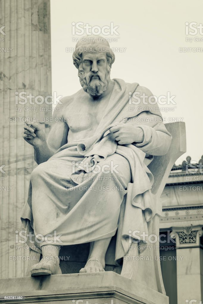 Statue Of Plato, Athens, Greece stock photo