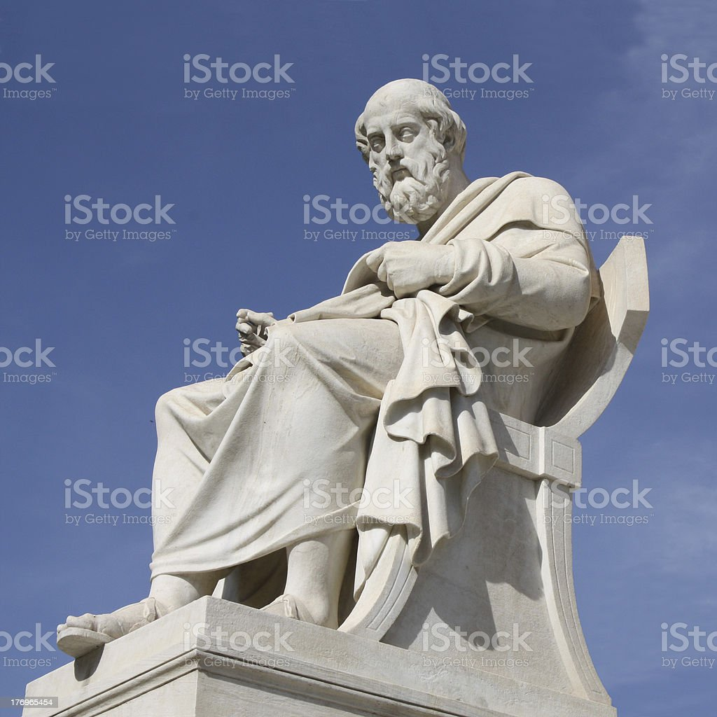 Statue of Plato in Athens, Greece stock photo