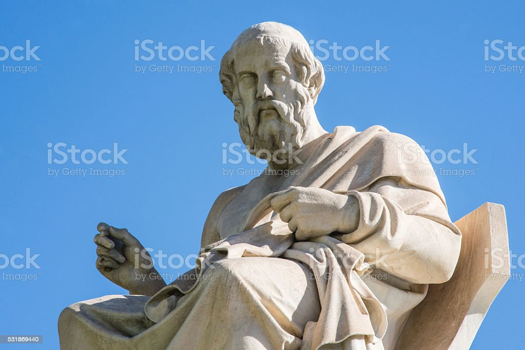 statue of Plato in Athens stock photo