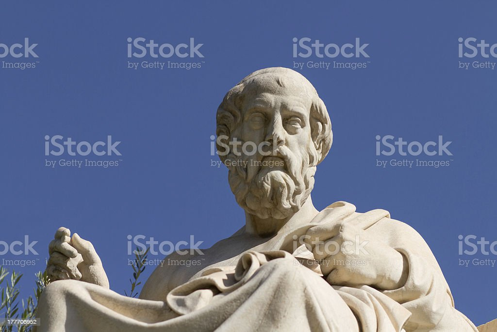 Statue of Plato in Greece stock photo
