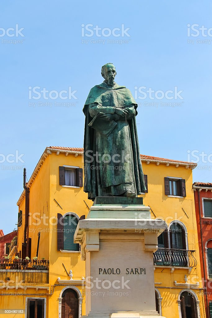 Statue of poet Paolo Sarpi in Venice, Italy royalty-free stock photo