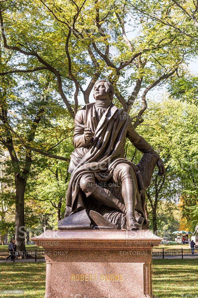 Statue of Poet/Lyricist Robert Burns, Central Park, New York stock photo