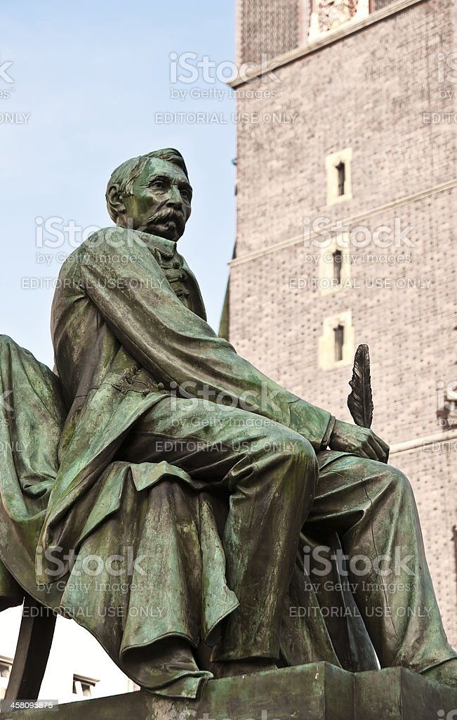 'Statue of Polish comic playwright Alexander Fredro in Wroclaw, P' stock photo