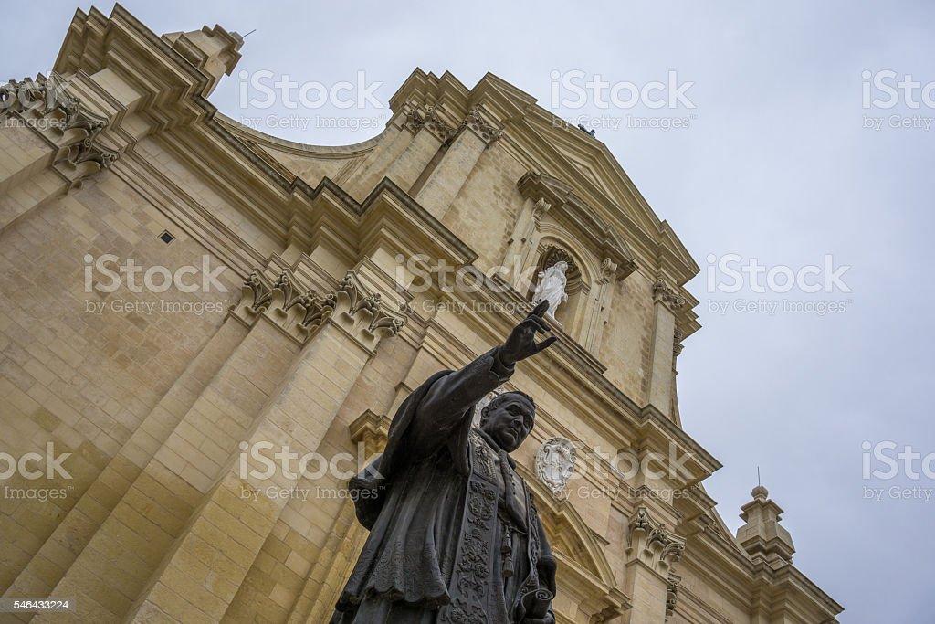 Statue of Pope in the Citadella, Gozo, Malta stock photo