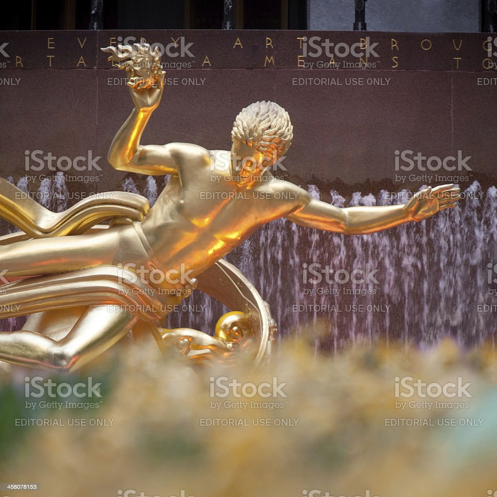 Statue of Prometheus in New York stock photo