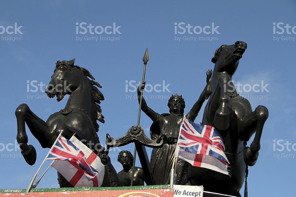 Statue of Queen Boudicca, London, UK royalty-free stock photo