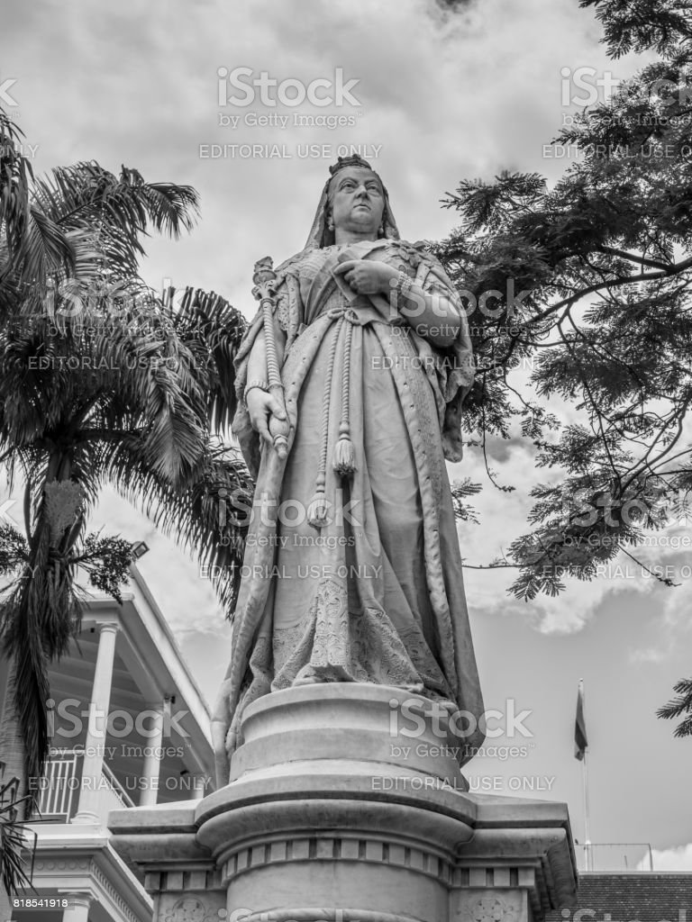 Statue of Queen Victoria, Government House, French Colonial building still used by the current government, Port Louis, Mauritius stock photo